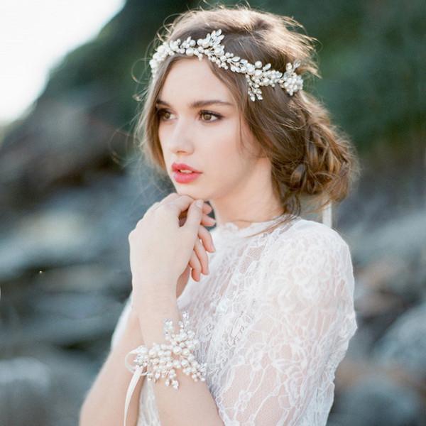 Boho Bridal Halo Copricapo Rinetones Matrimonio Parrucchiere Cablato a mano Cristallo Perla Foglia Capelli Tiara Corona Accessori per capelli da sposa