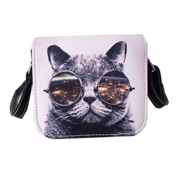 Wholesale- Bolsos Carteras Mujer Marca Women PU Leather Cat Wearing Glasses Print Messenger Handbag 2016 Women Bag