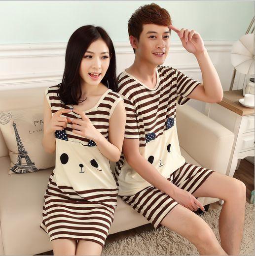 Big Promotion!!Fashion Spring/Summer Couple silk Pajamas Home Suit Men/Women Cartoon characters printing Short sleeve Sleepwear
