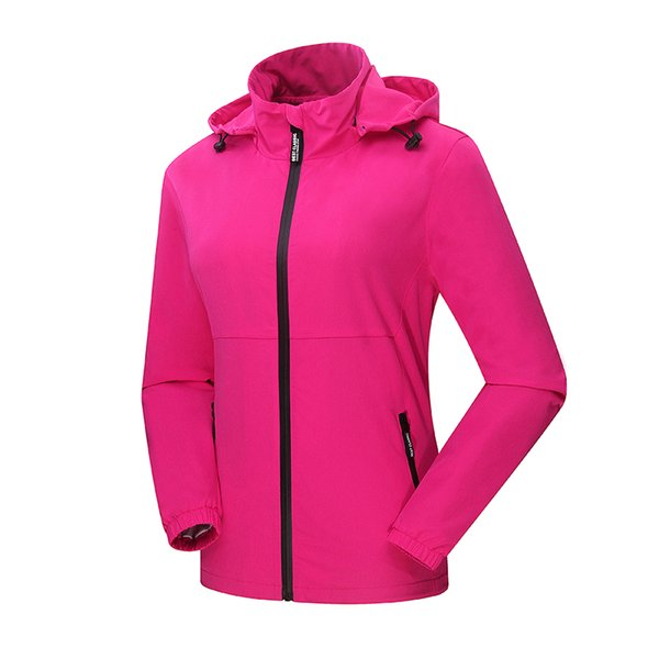 Women Camping Hiking Soft Shell Jackets Elasticity Breathable Waterproof Fabric Lady Hooded Outdoors Sport Coats Lovers Clothing