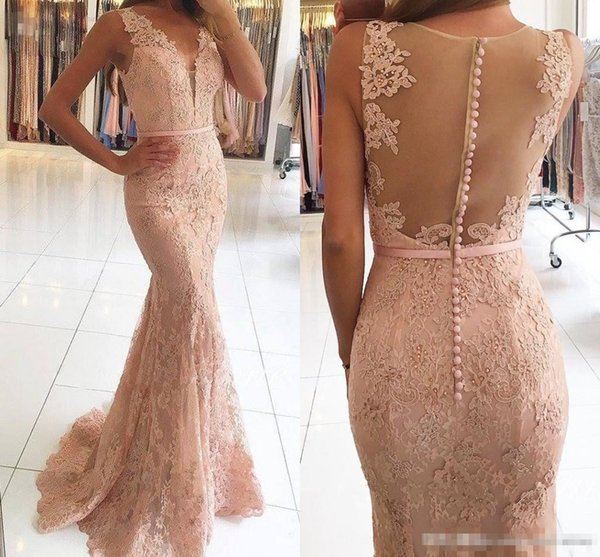 Modern Blush Pink Lace Mermaid Formal Evening Dresses 2017 Deep V Neck Sweep Train With Sash Illusion Covered Buttons Back Prom Gowns