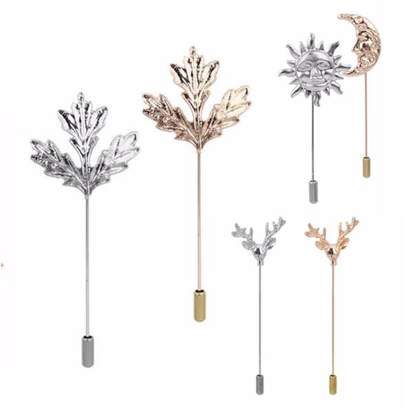 Venta al por mayor hojas de broche para hombre traje de solapa cuello dorado de la solapa pin accesorios de joyería de plata broches bijou pin de seguridad broschen