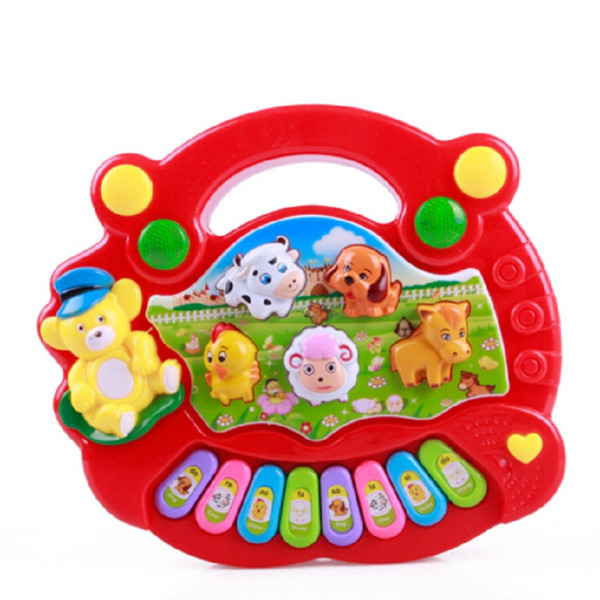 Wholesale- Chinese Language Cute Cartoon Farm Piano Music Baby Toys Early Education Multifunctional Baby Rattle Gifts Music Baby Toys