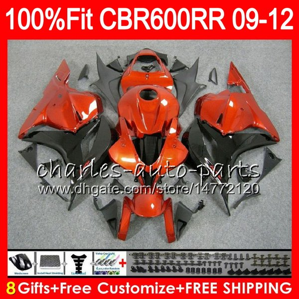 Body Injection For HONDA CBR 600 RR CBR600RR F5 09 10 11 12 65NO20 Orange black CBR 600RR CBR600F5 CBR600 RR 2009 2010 2011 2012 Fairing kit