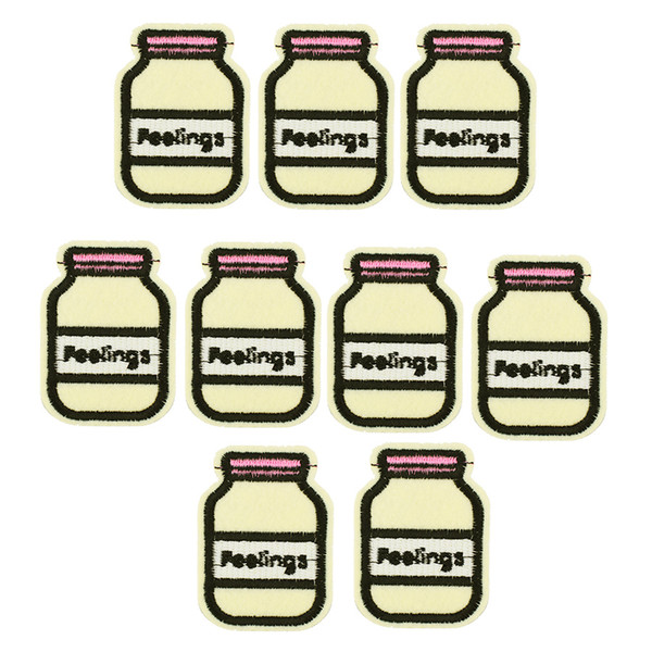 10PCS Milk bottle embroidery patch for clothing iron-on patch sewing supplies accessories badge stickers on clothes applique iron on patches