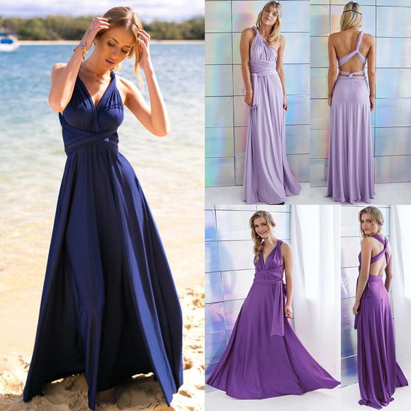 Vestido de noche de las mujeres elegantes de las mujeres Convertible de múltiples vías Wrap Dama de honor vestidos largos formales Vestido de baile Vestidos largos formales HJ075