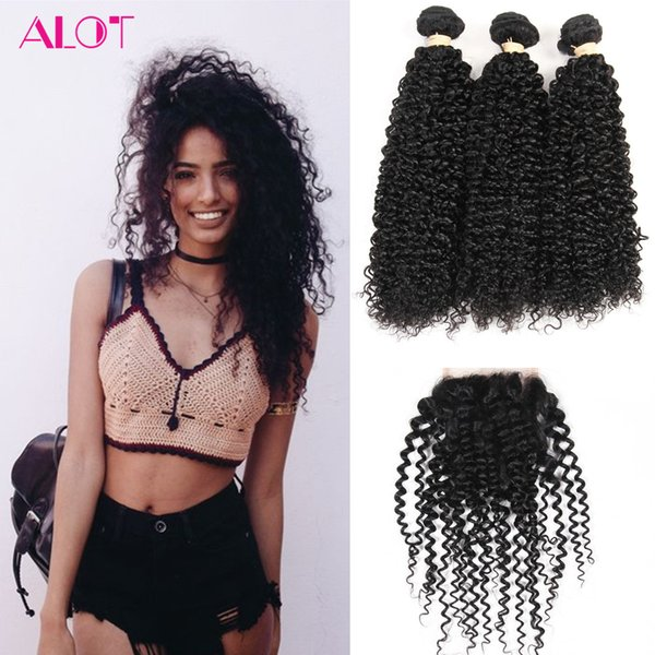 Brazilian Virgin Human Hair Bundles Kinky Curly Hair 3 Bundles with Closure 100% Unprocessed Remy Human Hair Extensions