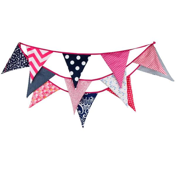 Commercio all'ingrosso- 12 bandiere 3.6 m grande formato colorato tessuto di cotone di buona qualità banner bunting bandiera festa di compleanno di nozze decorazione del partito a casa