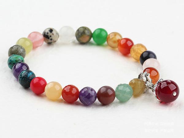 Jóias DIY Handmade gemstones Stretch pulseira, feita por ágata, cristal, vendido por PC