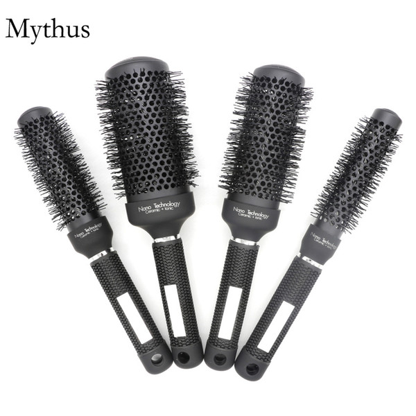 25mm, 32mm, 45mm, 53mm Set di spazzole rotonde per capelli rotanti, Classic Black Ceramic Ionic Hair Styling Brush, Pro Hair Styling Brush M-04