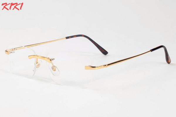 2017 neue Mode Farbverlauf Randlose Sonnenbrille Für Frauen Übergroße Klare Linse Optik Metallrahmen UV400 Männer Vintage Sonnenbrille Retro Brillen