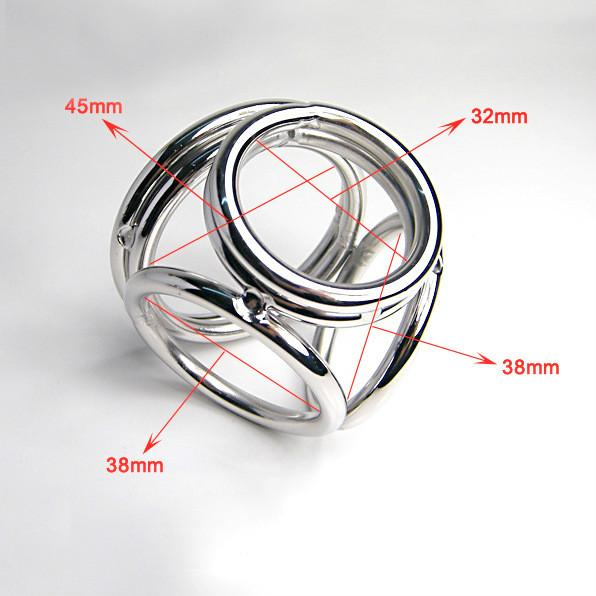 Penis Cock Dick 4 Rings Ring Sleeve Belt Male Chastity Device Sex Toys Products for Men Adult Game Metal Stainless Steel 2 Size