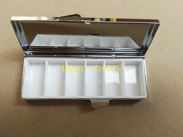 100pcs/lot Fast shipping Blank Rectangle Pill Boxes Metal Pill Container 6 Grids Mini Portable Travel Case