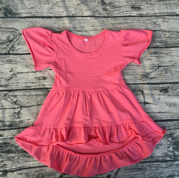 vestito estivo per 0-12 anni ragazze bambino bambini boutique stile casual vestito all'ingrosso bambini alta bassa tunica manica corta
