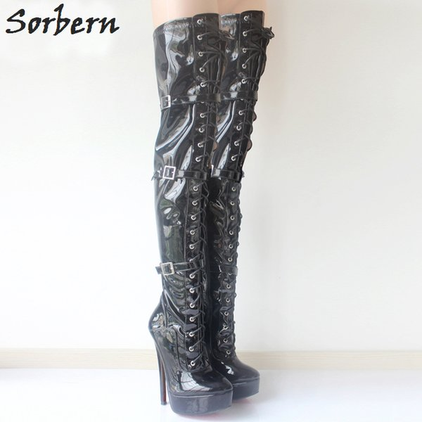 """Sorbern Over Knee Thigh High Boots Unisex 18cm/7"""" High Thin Heels Women Sexy Fetish Boots Platform Lace-up boots Plus Size 36-46"""