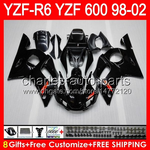 Glossy black 8gifts Para YAMAHA YZFR6 98 99 00 01 02 YZF600 82HM1 YZF-R6 YZF 600 R 6 YZF R6 1998 1999 2000 2001 2002 Kit de carenado Brillante negro