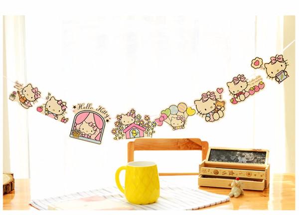 Bandiere allegre della ghirlanda della Bell di appendere-belle del gattino del Commercio all'ingrosso per le decorazioni delle forniture di evento e del partito delle bandiere di buon compleanno della ragazza