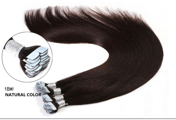 Whosale Price Grade 7A-- 100% Human PU Tape in Hair Extensions 2.5g/pcs 60pcs&150g/set #1 Jet Black DHL FREE