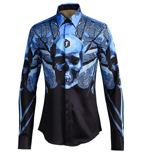 New Men casual shirt long sleeve Gradient color printed Snake Skull Ironing-free European and American style Classic Slim Fit Men Shirt