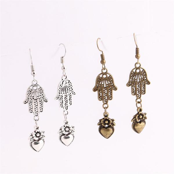 12pcs/lot Metal Alloy Zinc Love Heart Pendant Hamsa Hand Connector Flower Charm Drop Earing Diy Jewelry Making C0670