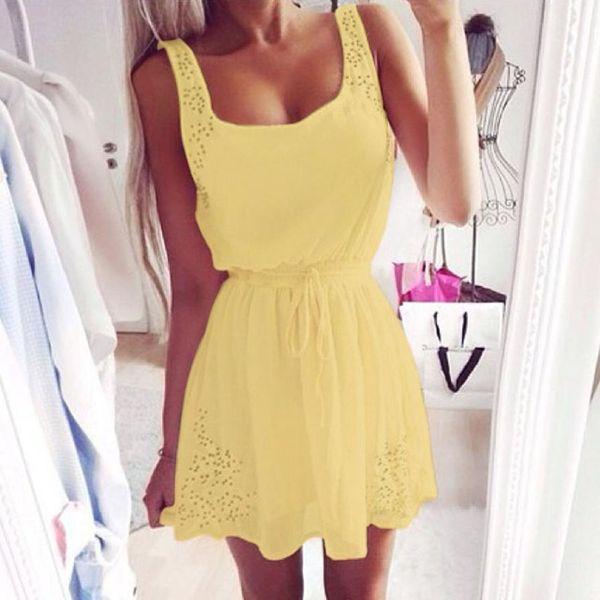 Estate donne veste chiffon ragazza pura casuale abiti da cocktail senza maniche partito breve mini abito girocollo Slim abbigliamento giallo