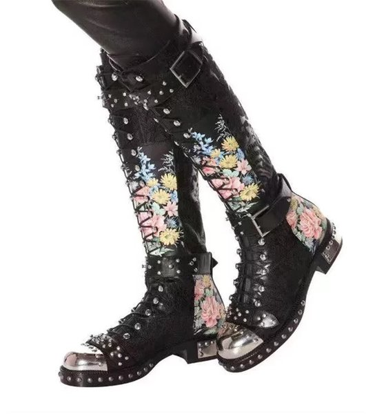 Studded Buckle Cross Tied Motorcycle Boots For Women Rivet With Metal Decoration Print Flower Leather Knee-High Booties