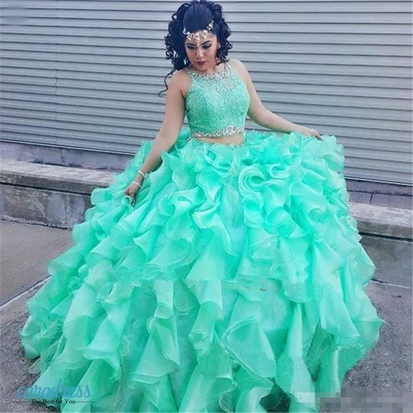 2017 Mint Lace Quinceanera Evening Dresses 2 Piece Ball Gown Princess Puffy Ruffle Masquerade Sweet 16 Dress Prom Girls vestidos de 15 anos