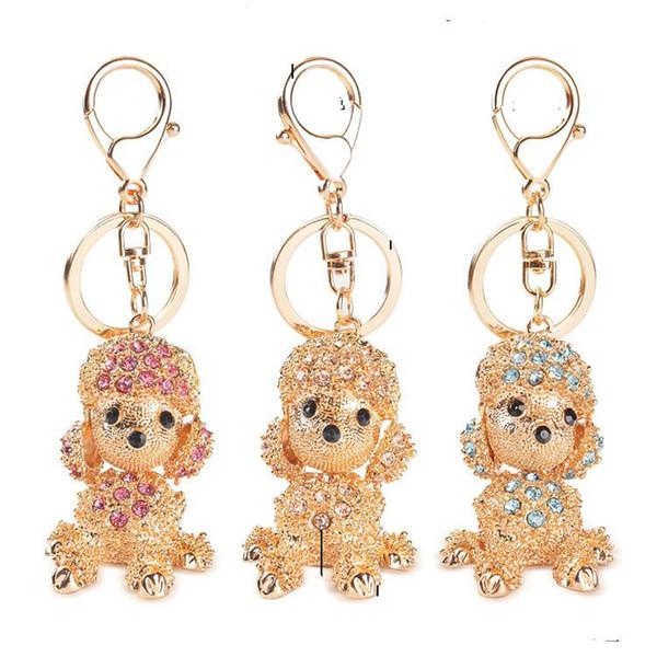 Korean Style Poodle Dog Women Key Rings Engagement Key Chain Novelty Crystal Diamond Keychain Festival Wedding Gifts Key Rose/Blue/champagne