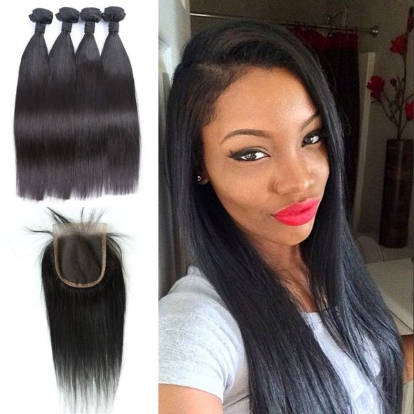 Indian Virign Straight Hair With Closures Free Part 4X4 Swiss Lace Unprocessed Human Hair Bundles With Closure LaurieJ Hair