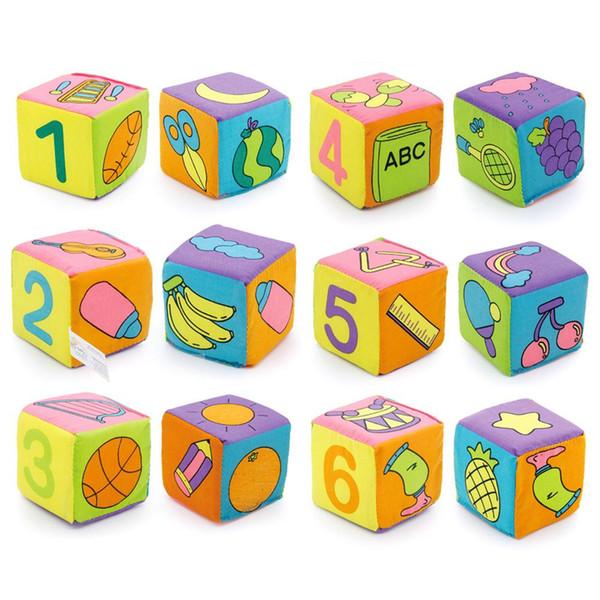 Alta Calidad 6 unids / set Bebé Juego Suave Cubos de Tela Bloques de Construcción de Niños Multifuncional Sonajero Mágico Bloques de Campana