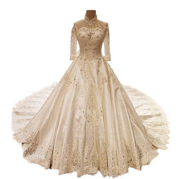 Vestido de novia de manga larga de la década de 1970 con apliques de abalorios Crystal High Neck Cathdral tren tafetán vestido de la huésped de la boda para la madre