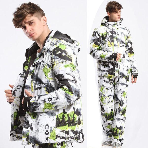 Vente en gros-Nouveau 2017 Mâle et Femelle Vêtements de Ski Veste + Pantalon Imperméable à l'eau respirant thermique Cottom-rembourré Snowboard Imprimé Graffiti Ski Suit