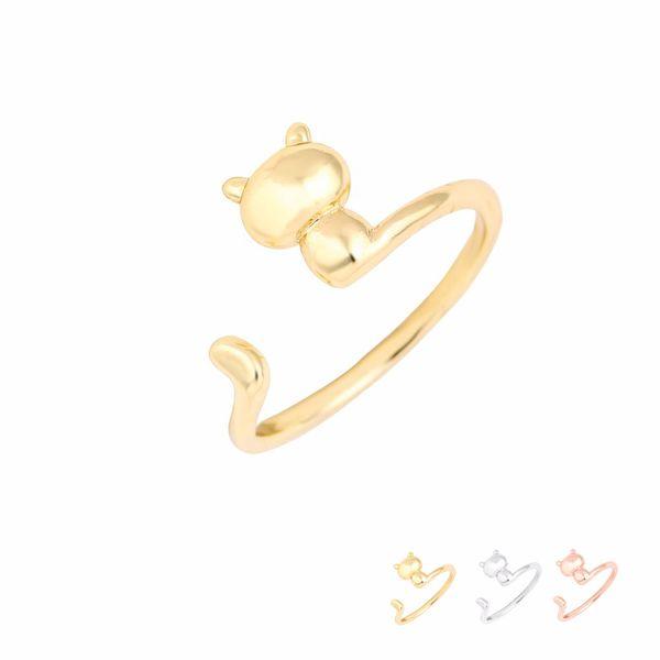 Anillos de moda al por mayor ajustable anillo gato 3D plata oro rosa chapado en latón joyería para mujeres chica puede mezclar color EFR071 precio de fábrica