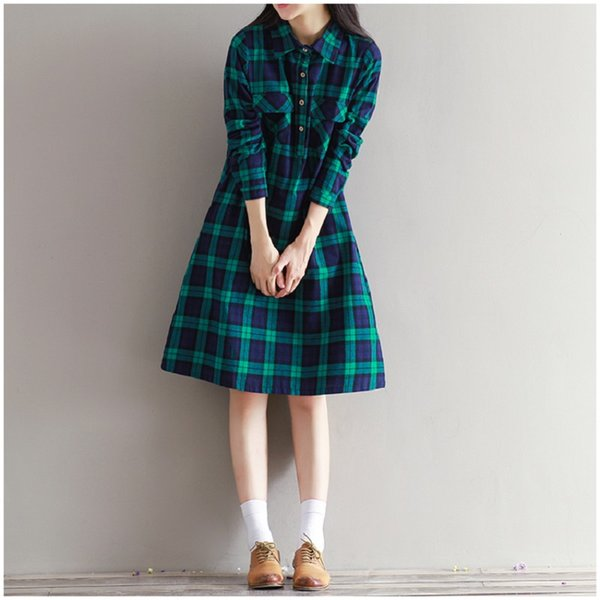 Vente en gros-2016 Printemps Automne Mori Fille Femmes Plaid Dress Turn-Down Collar À Manches Longues Vert Elbise Casual Lâche Coton Split Dress M-2XL