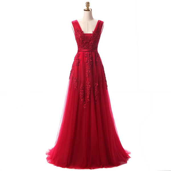 2019 Red Evening Dresses Cheap Plus Size Prom Dresses V-neck Backless Zipper Back Tulle Appliques Floor-length A-line Sexy Evening Gowns