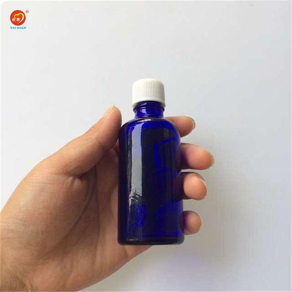 Wholesale 50ml Blue Glass Liquid Bottles with White Cap Sealing up Packing Liquid Bottles Essential Oil Jars 12pcs/lot