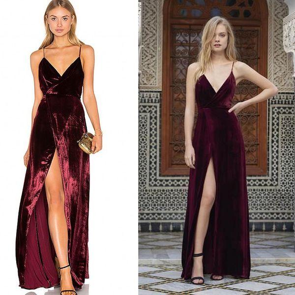 Stylish Burgundy Velvet Prom Dresses V Neck Side Split Backless ...