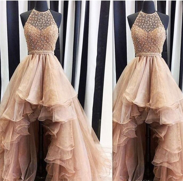 2017 High Low Gold Prom Dresses Real Photo Weddings Gowns Halter Beaded Puffy Formal Beach Special Occasion Party Dress Custom Made