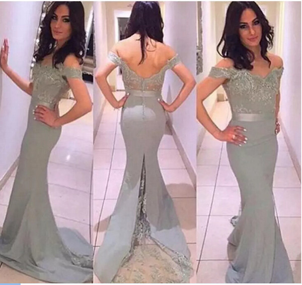 Sexy Charming Off the Shoulder Prom Dresses 2017 Applique Lace Backless Mermaid Evening Party Gowns Vestido De Festa ,Slim Style