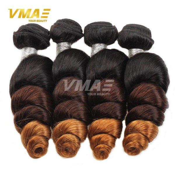 El cabello brasileño de la Virgen de Ombre teje T1B / 4/27 Ola suelta brasileña Ombre Paquetes de cabello humano brasileño Extensiones de cabello Ombre 3 tonos