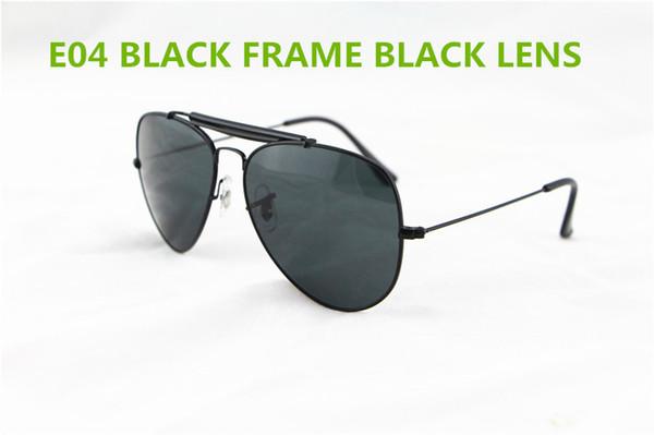 1pcs Hot sale Men Women Pilot Sunglasses Brand Designer UV400 Glasses Black frame Black Glass Lens 62mm With Boxes