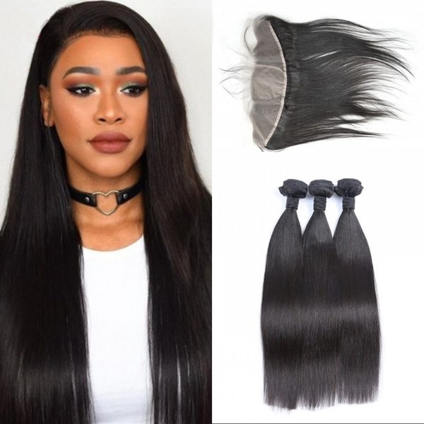 Vietnamese Virgin Hair Weave with Silk Base Lace Frontal 13x4 Ear to Ear Silk Frontal with 3pcs Straight Human Hair Bundles FDSHINE