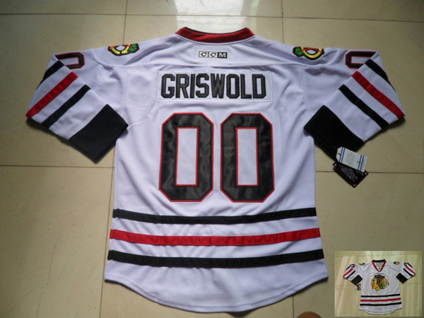 Vintage Chicago Blackhawks Camisetas de hockey Blanco 00 Clark Griswold Vintage CCM Moive National Lampoon's Jersey de vacaciones de Navidad