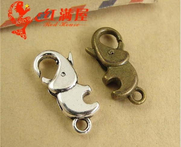 12*23MM Antique Bronze elephant charms lobster clasp for bracelet, vintage silver jewelry clasp for necklace, metal key ring holder hook