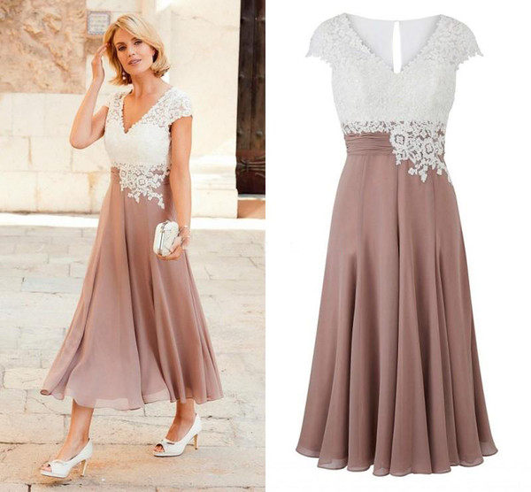Newest Mother Of The Bride Dress Deep V Neck Chiffon Tea Length Wedding Guest Dress Short Sleeves Top Lace Groom Party Gowns Mothers Dresses Wedding