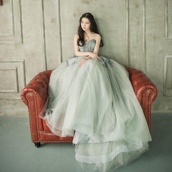 Discount Designer Strapless Peplum Wedding Dresses 2017 Gray Beaded ...