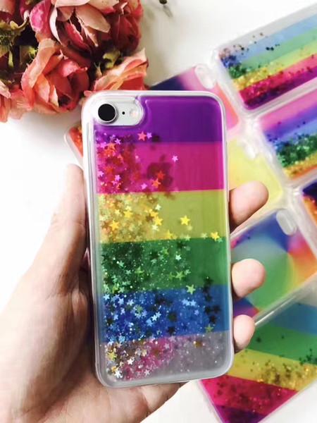 For LG K7 K8 K10 K4 K5 Colorful Cheap Good Quality Hybrid Water Liquid Glitter Phone Case Floating Star TPU Shining Rainbox Cover