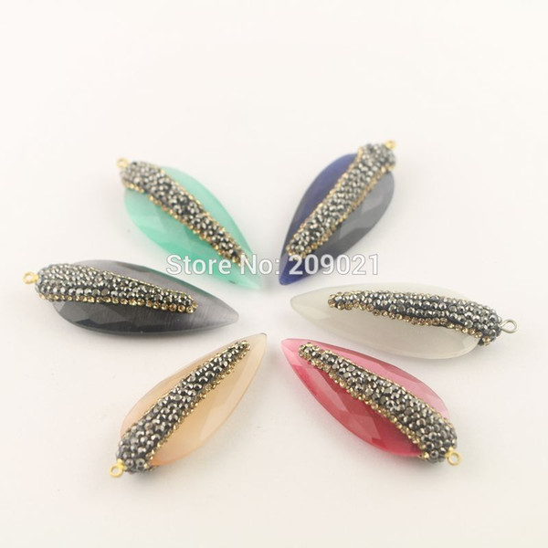 New 6Pcs Arrowhead Pave Rhinestone Cat's Eye Stone Charms Pendants in Mixed Color , Jewelry Finding For Necklace