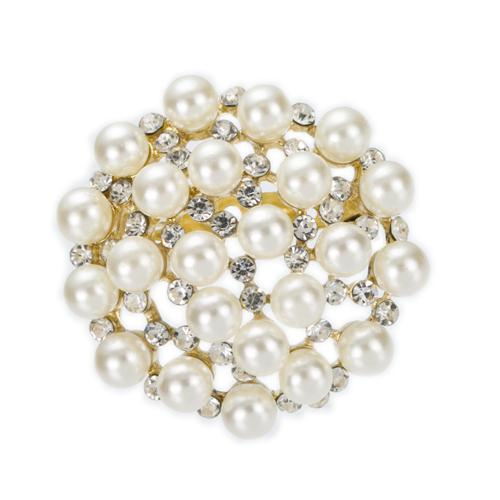 1.7 Inch Gold Plated Clear Rhinestone Crystal and Imitation Cream Pearl Round Brooch Wedding Cake Pins