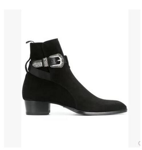 7d4136bf66c Chelsea Boots Leather Buckle Ankle Men Boots Fashion Trend Men Booties Low  Heel Dress Shoes Patchwork Mujer Boots No 7 Bootie From Fashionmenshoes, ...